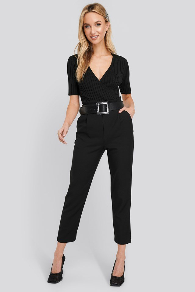 High Waist Straight Pants Black