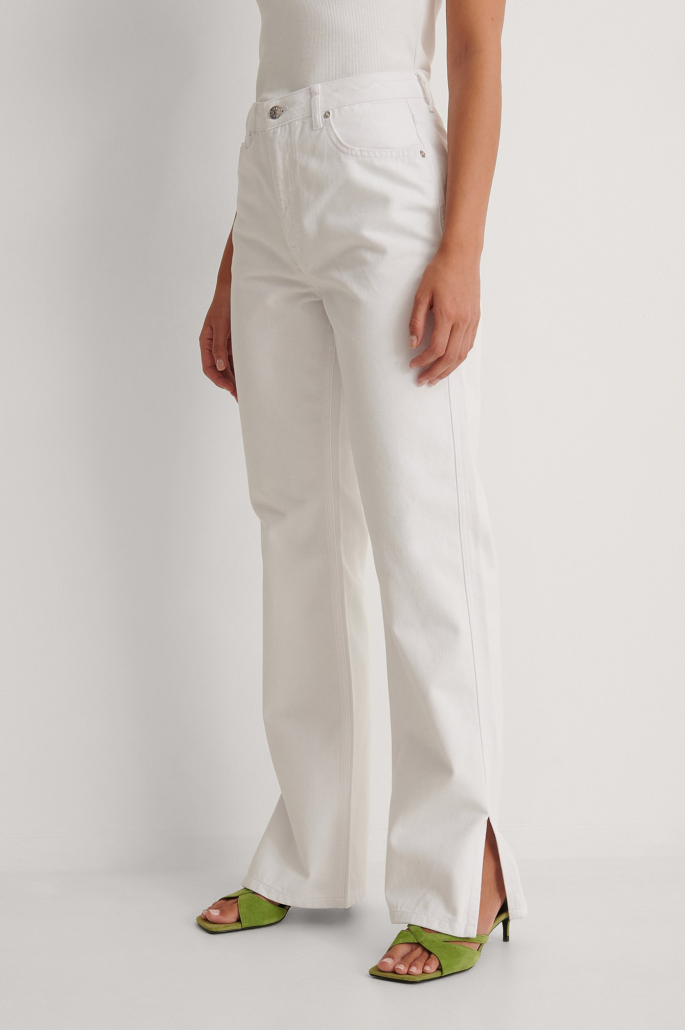 White High Waist Straight Side Slit Jeans
