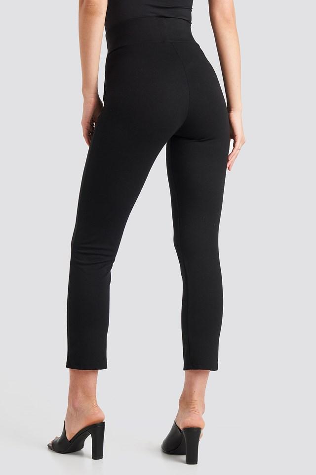 High Waist Tapered Leg Jersey Pants Black