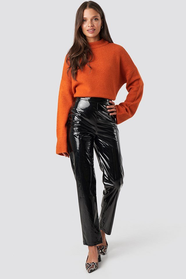 High Waist Vinyl Pants Black