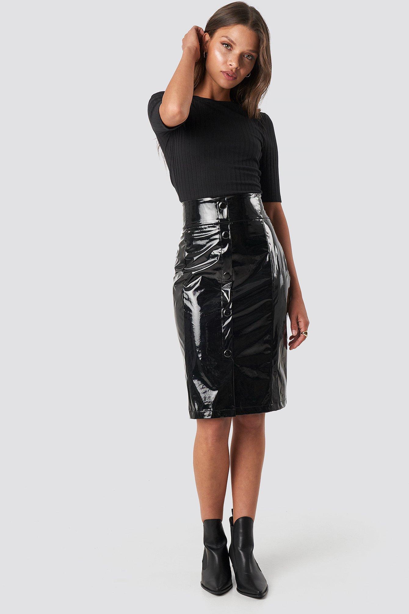 na-kd trend -  High Waist Vinyl Skirt - Black