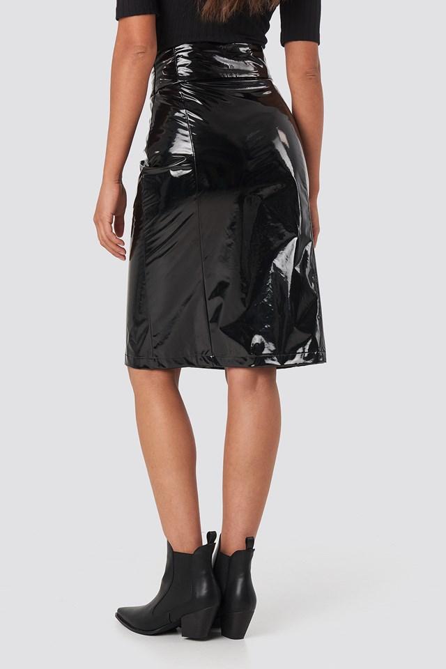 High Waist Vinyl Skirt Black