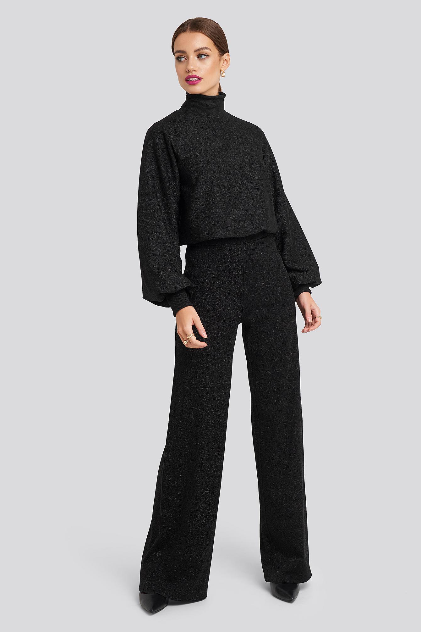 na-kd -  High Waist Wide Leg Lurex Pants - Black