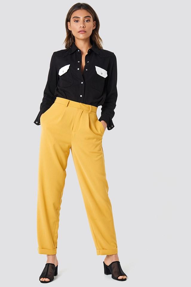 High Waist Wide Leg Pants Mustard Yellow