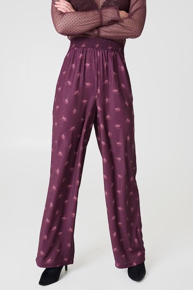 High Waist Wide Pants Plum Floral