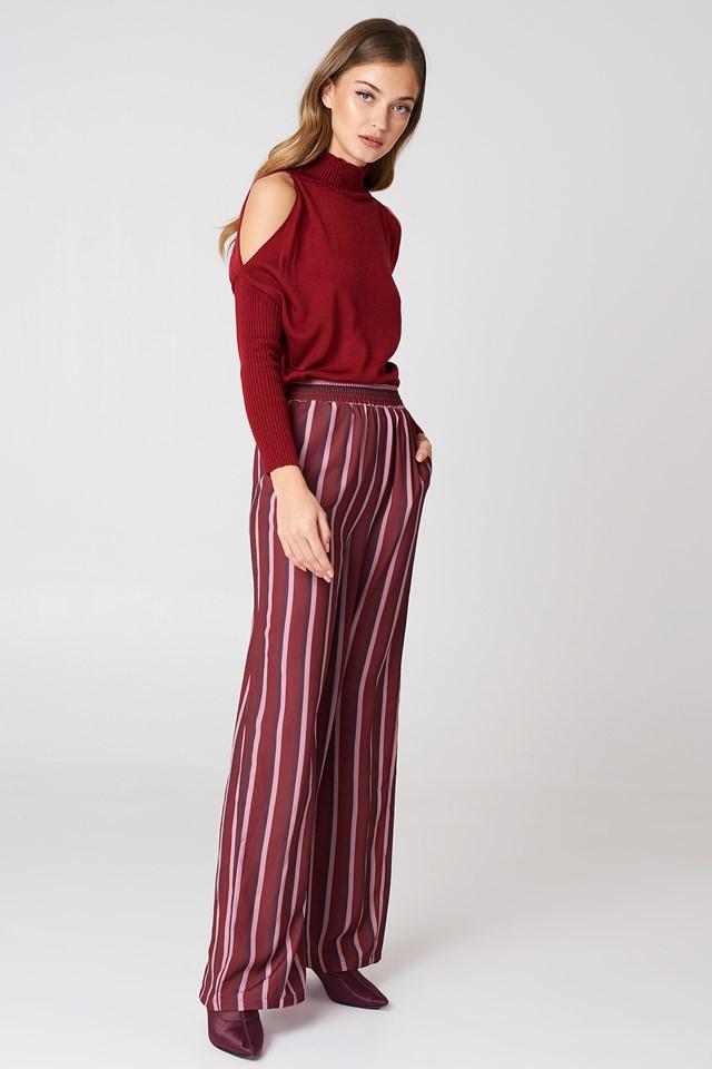 High Waist Wide Pants Burgundy Triple Stripes