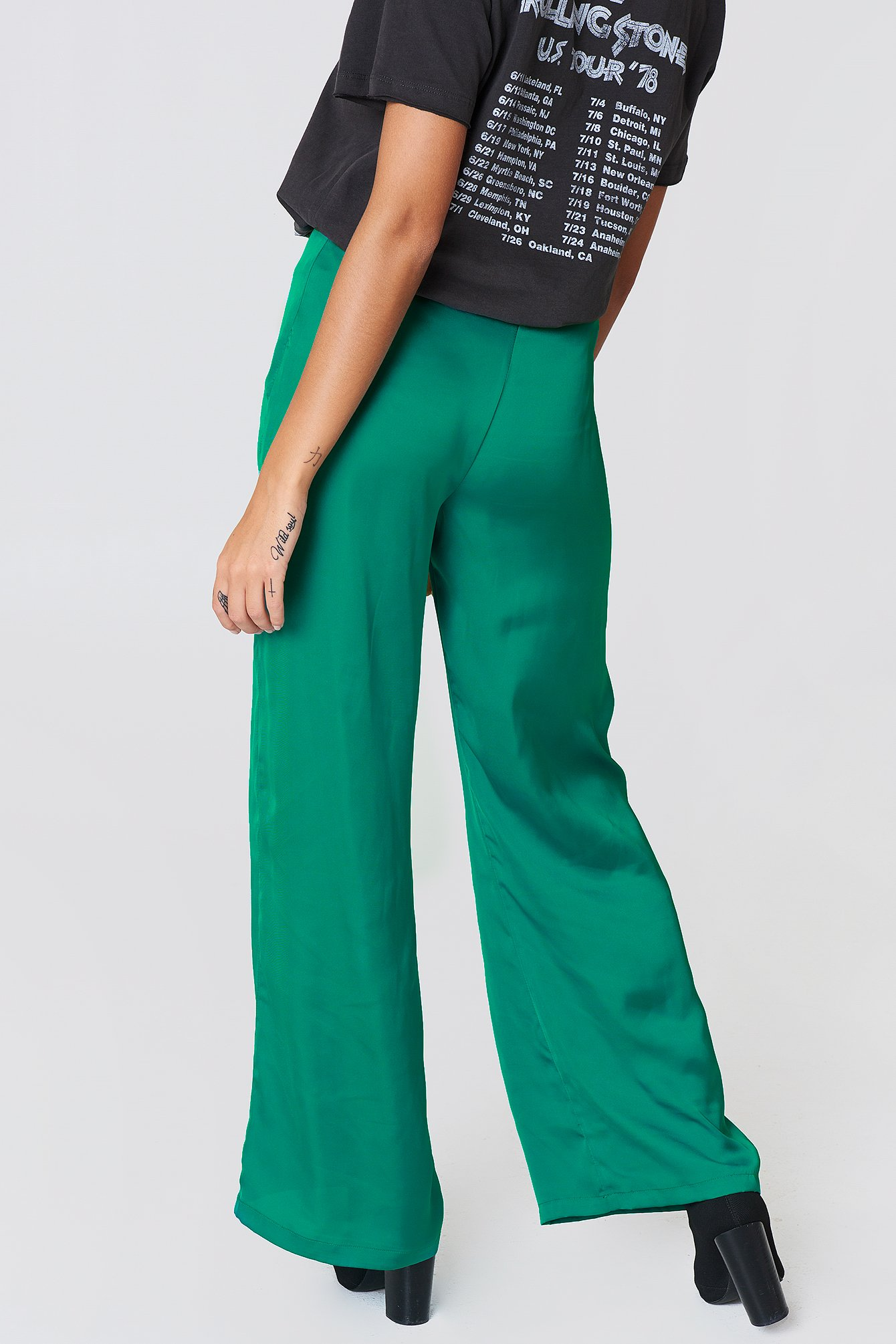 Basil green High Waist Wide Satin Pants