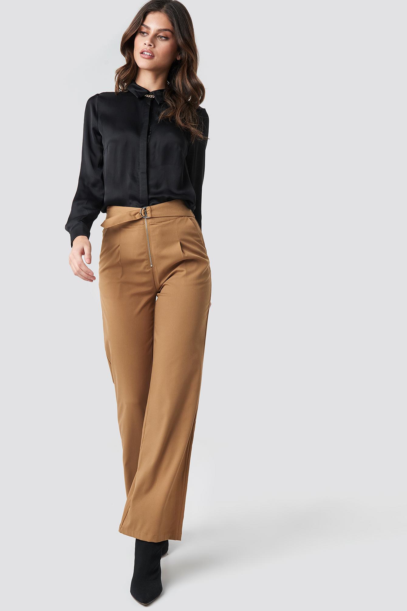 na-kd -  High Waist Zip Detail Pants - Brown,Beige