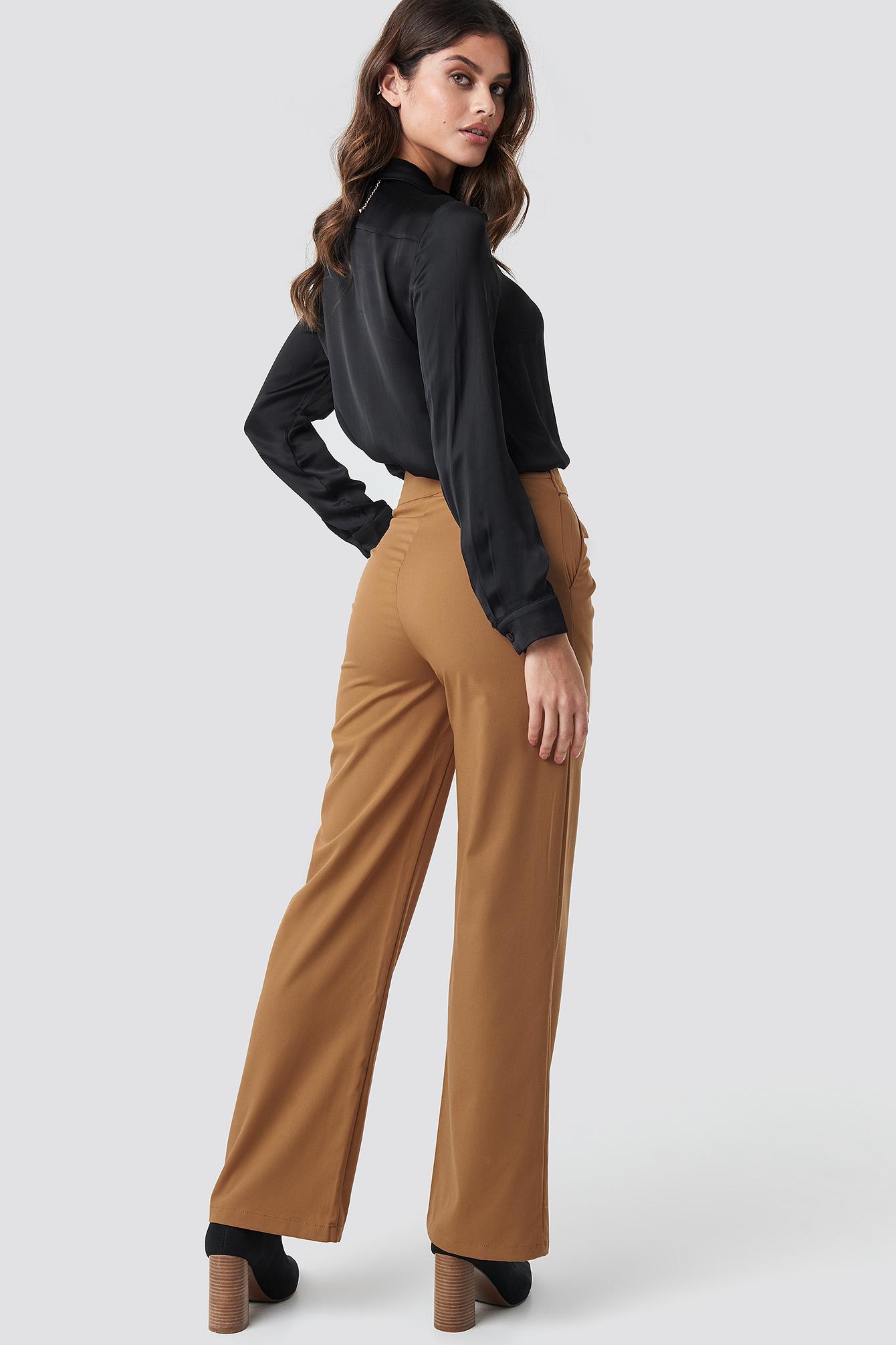 High Waist Zip Detail Pants NA-KD.COM