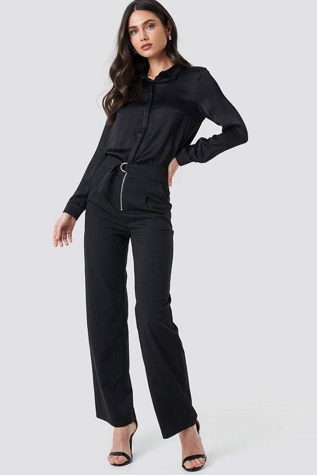 High Waist Zip Detail Pants Black