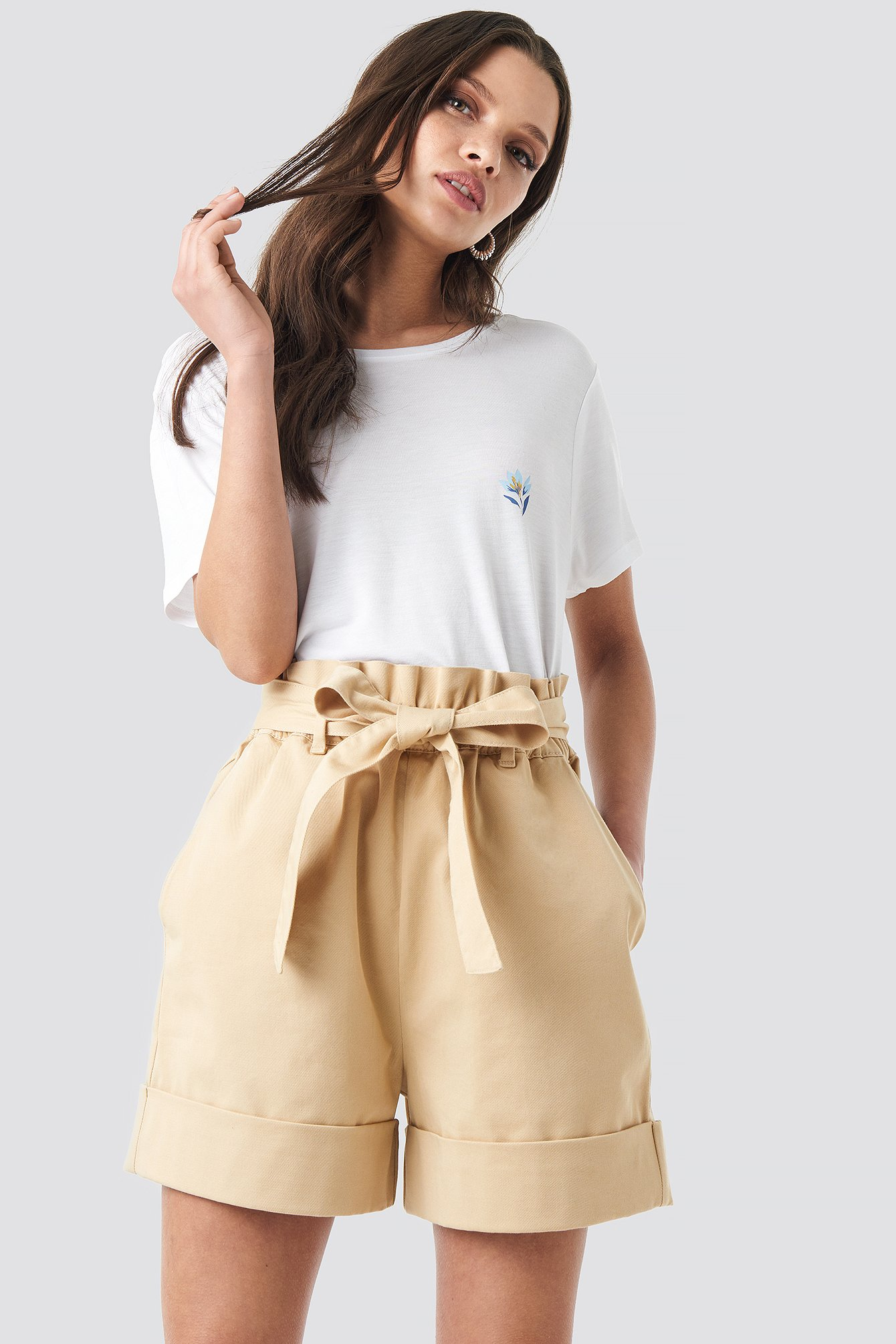 Beige High Waist Chino Shorts