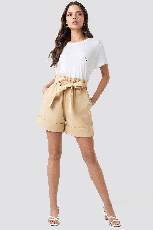 High Waist Chino Shorts Beige