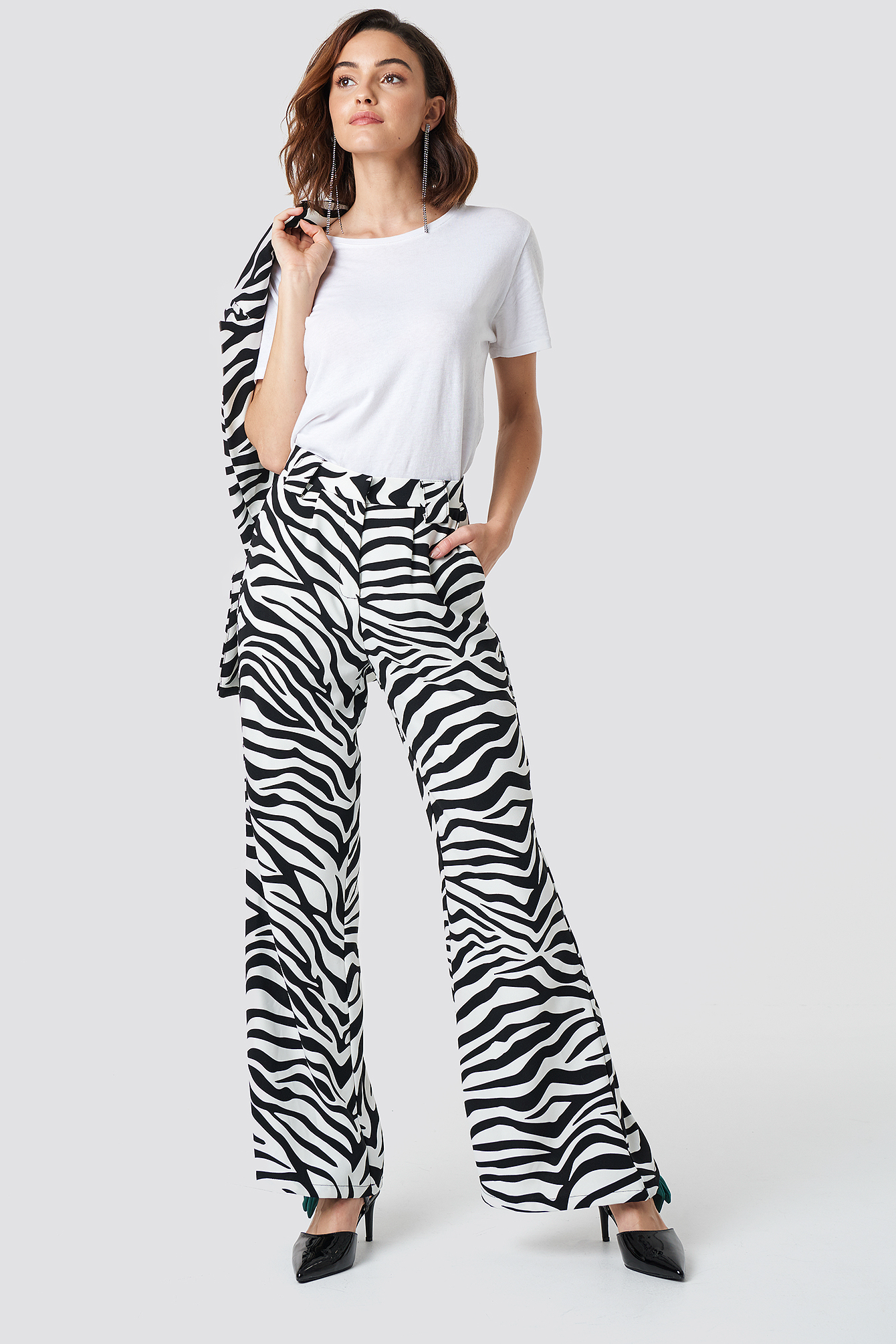 na-kd trend -  High Waisted Flared Suit Pants - Black,White