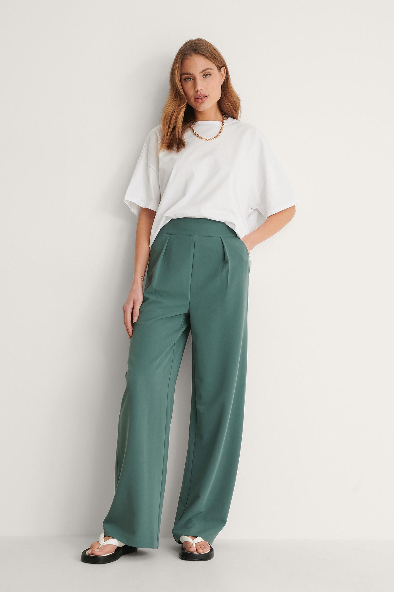 na-kd classic -  Hochgeschnittene Anzughose Mit Weiten Beinen - Green
