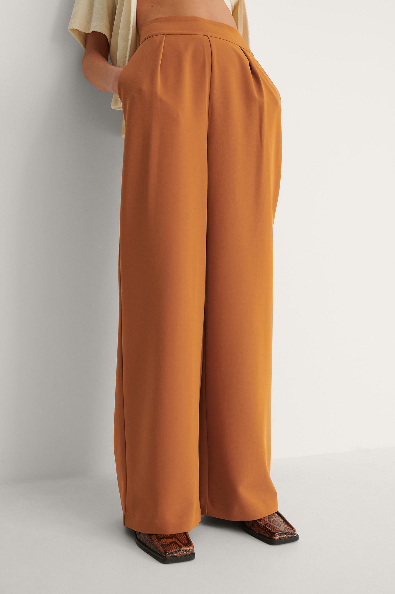 na-kd classic -  Hochgeschnittene Anzughose Mit Weiten Beinen - Orange