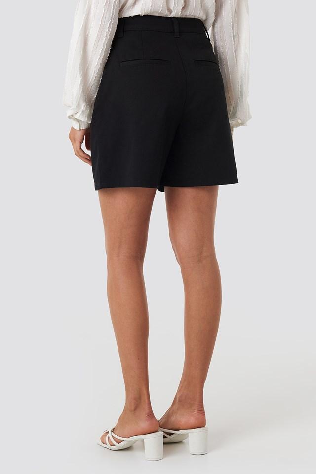 High Waist Loose Fit Shorts Black