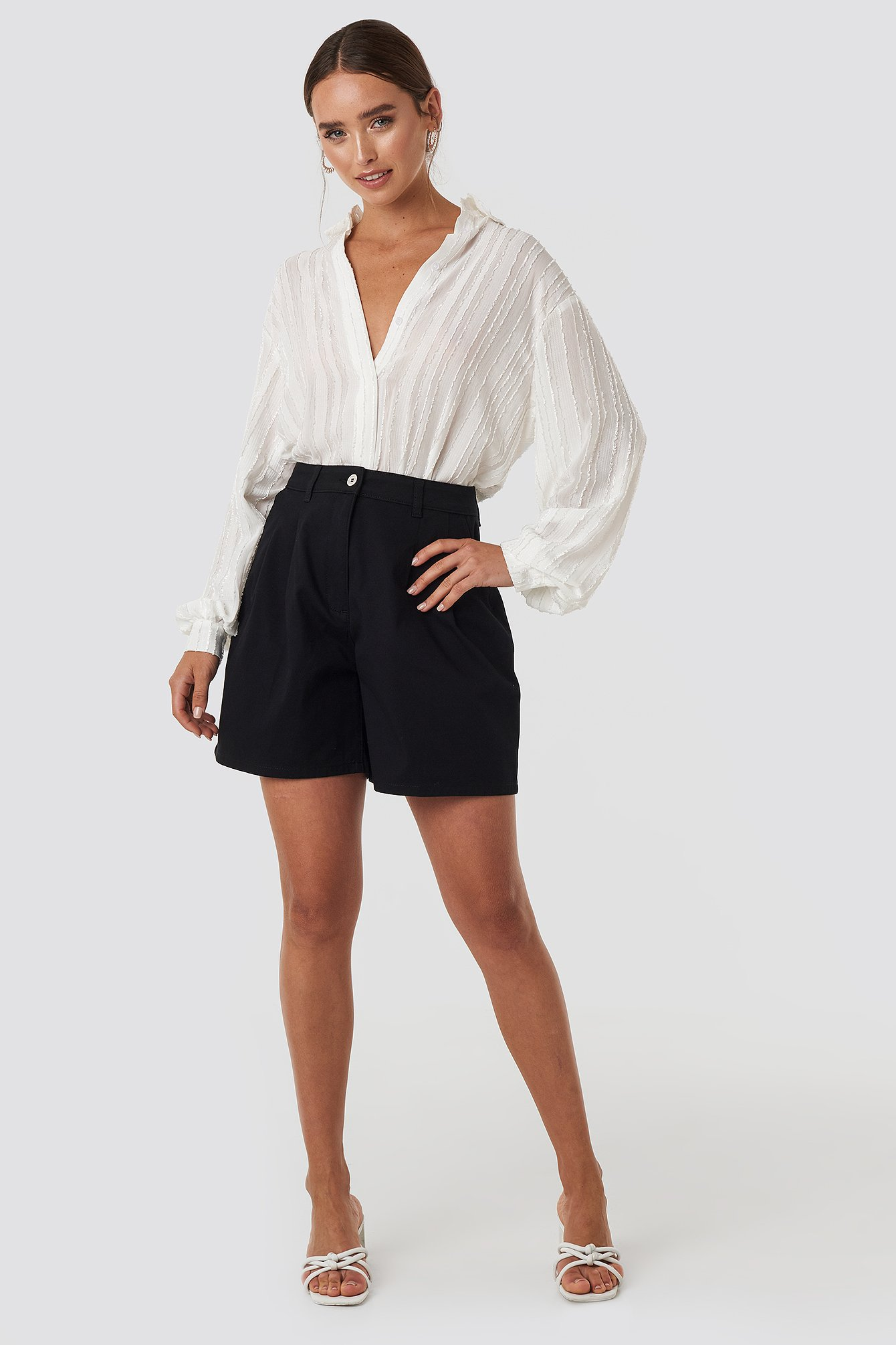 Black High Waist Loose Fit Shorts