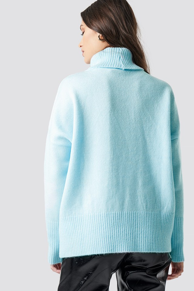Highneck Wide Rib Long Sweater Blue