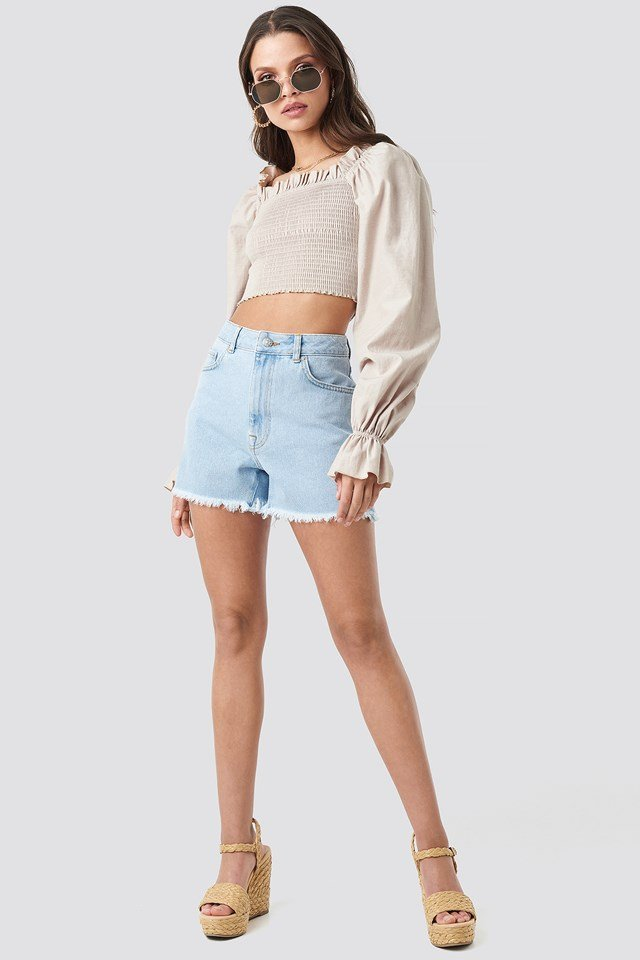 High Waist Raw Hem Denim Shorts NA-KD