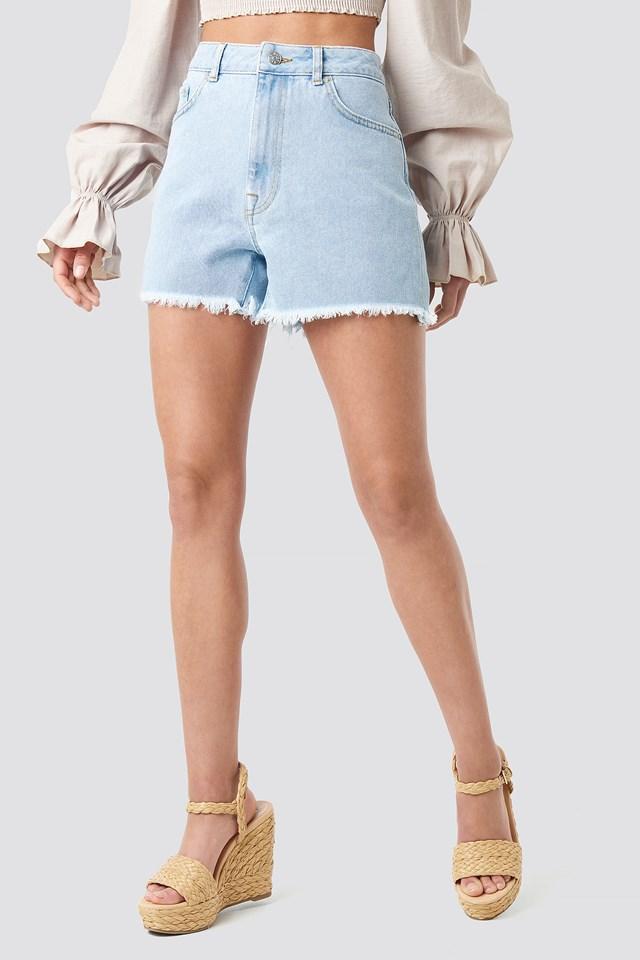 High Waist Raw Hem Denim Shorts Light Blue