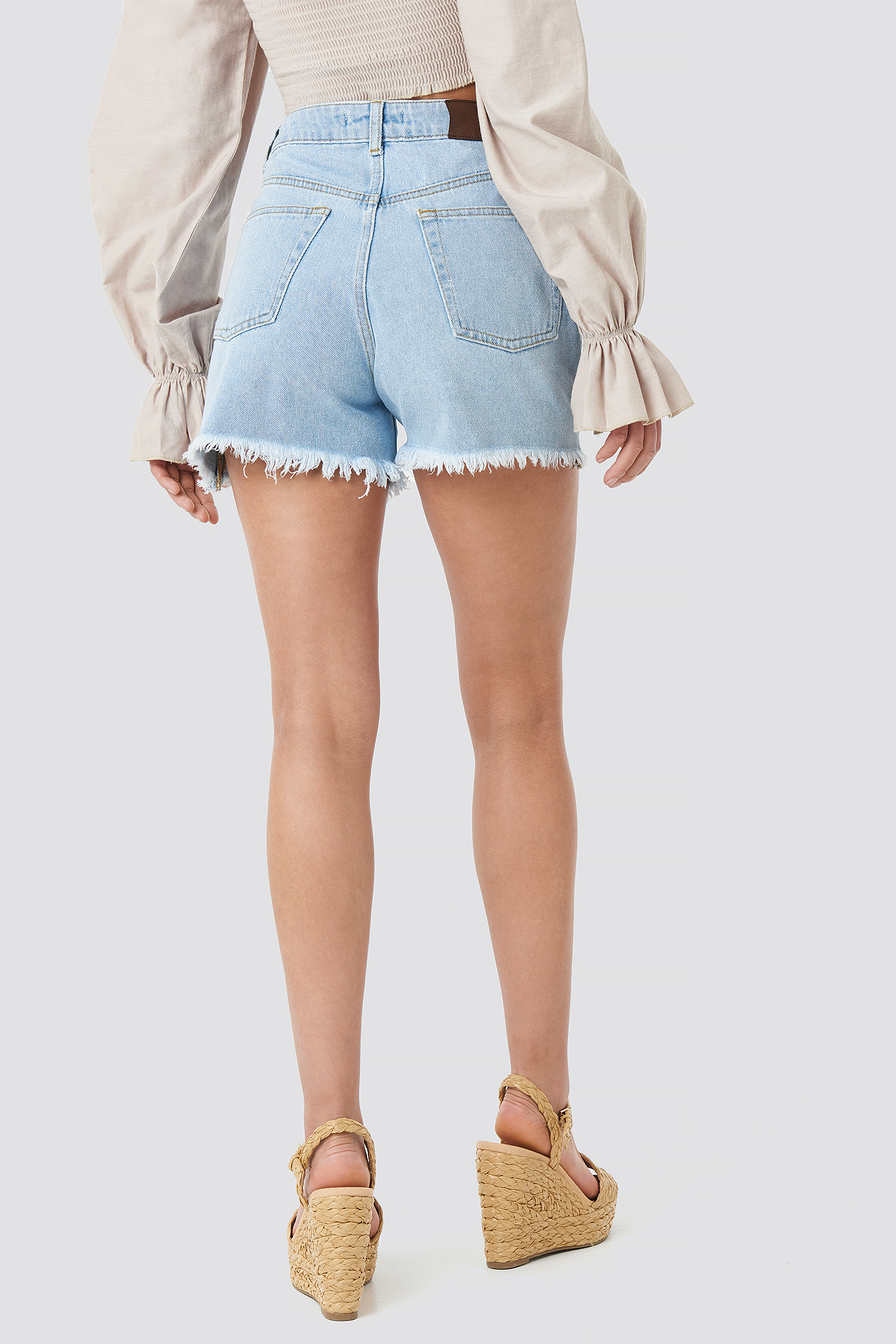 High Waist Raw Hem Denim Shorts NA-KD.COM