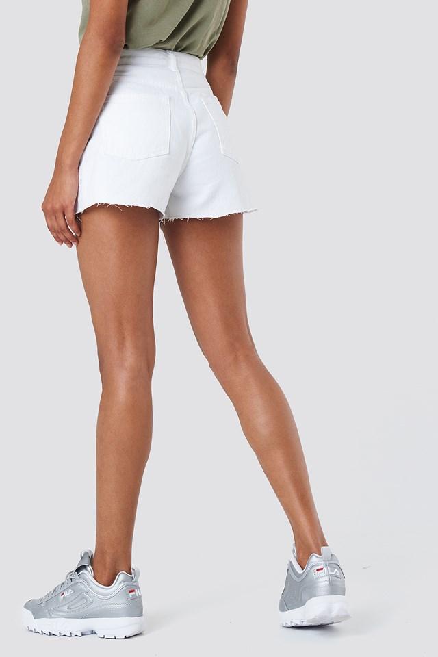 Highwaist Destroyed Denim Shorts White