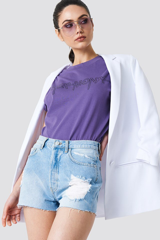 Highwaist Destroyed Denim Shorts Light Blue