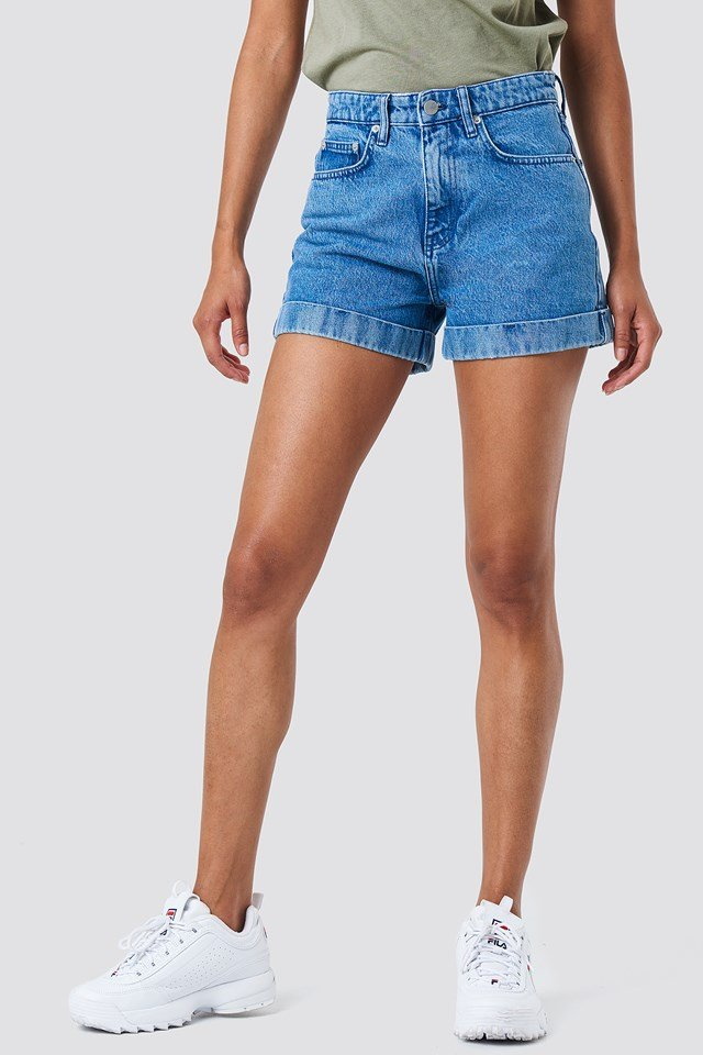 Highwaist Folded Denim Shorts Mid Blue