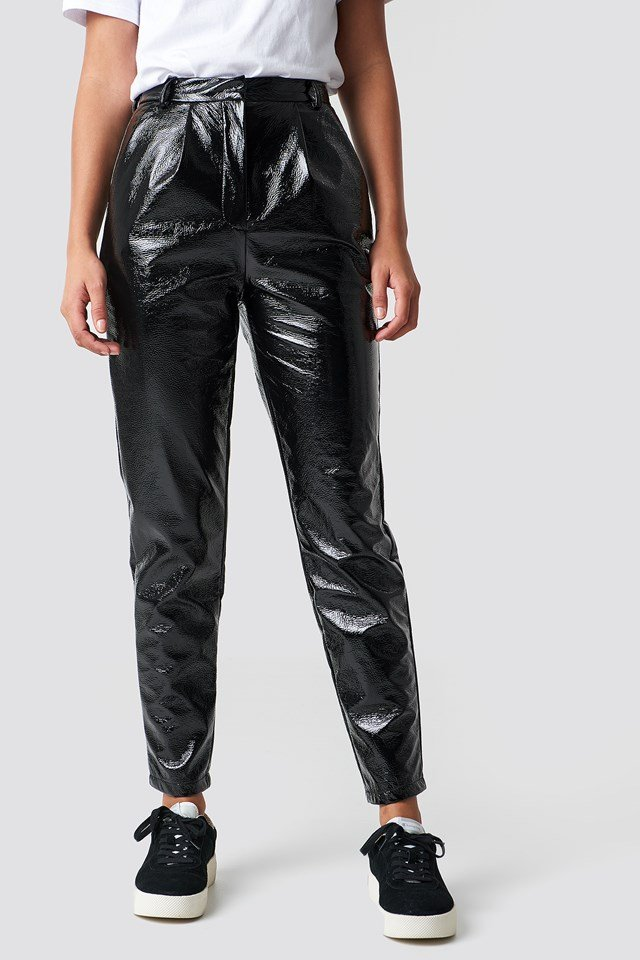 High Waist Patent Pants Black