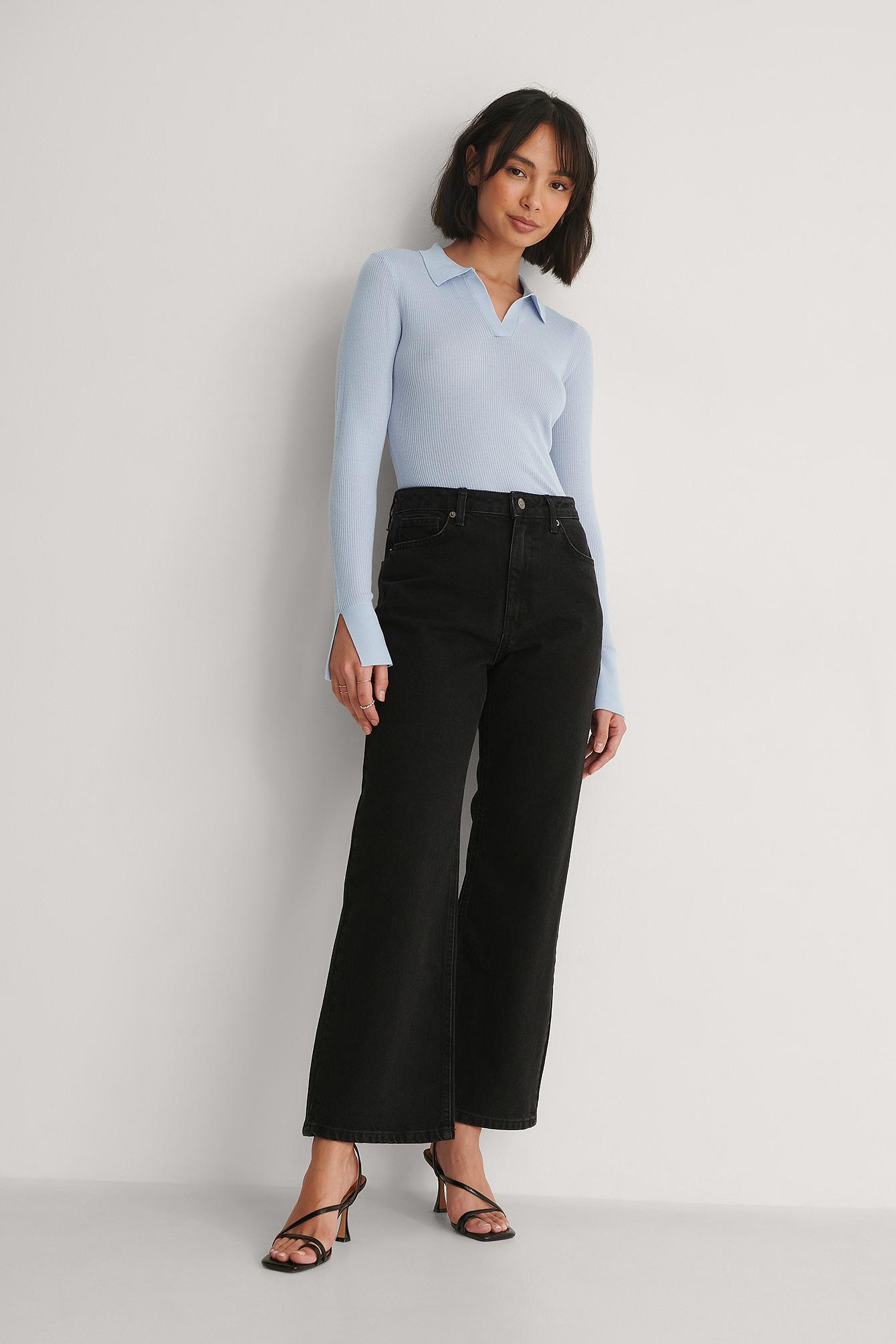 NA-KD Reborn Økologiske Højtaljede Jeans - Black