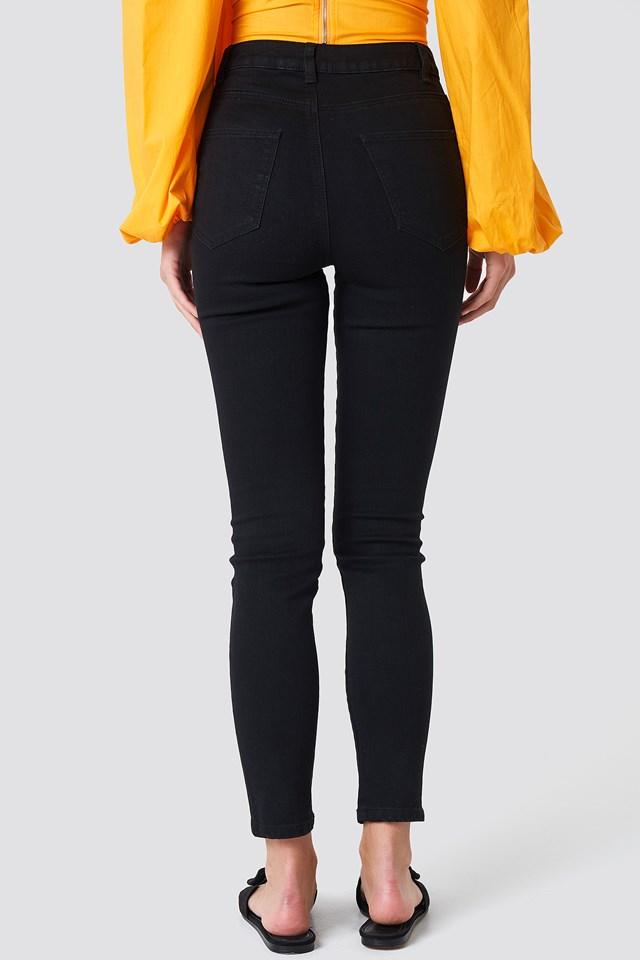 Highwaist Ripped Knee Skinny Jeans Black