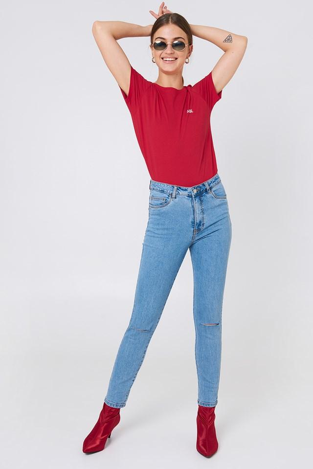 Highwaist Ripped Knee Skinny Jeans Light Blue