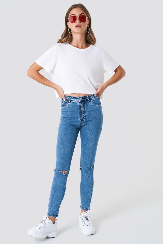Highwaist Ripped Knee Skinny Jeans Mid Blue