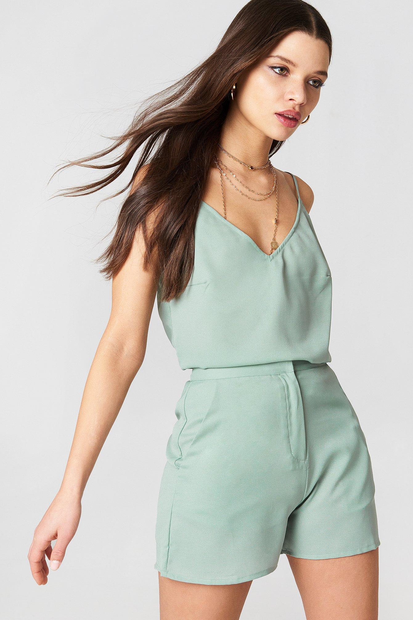 NA-KD Boho Highwaist Shorts - Green