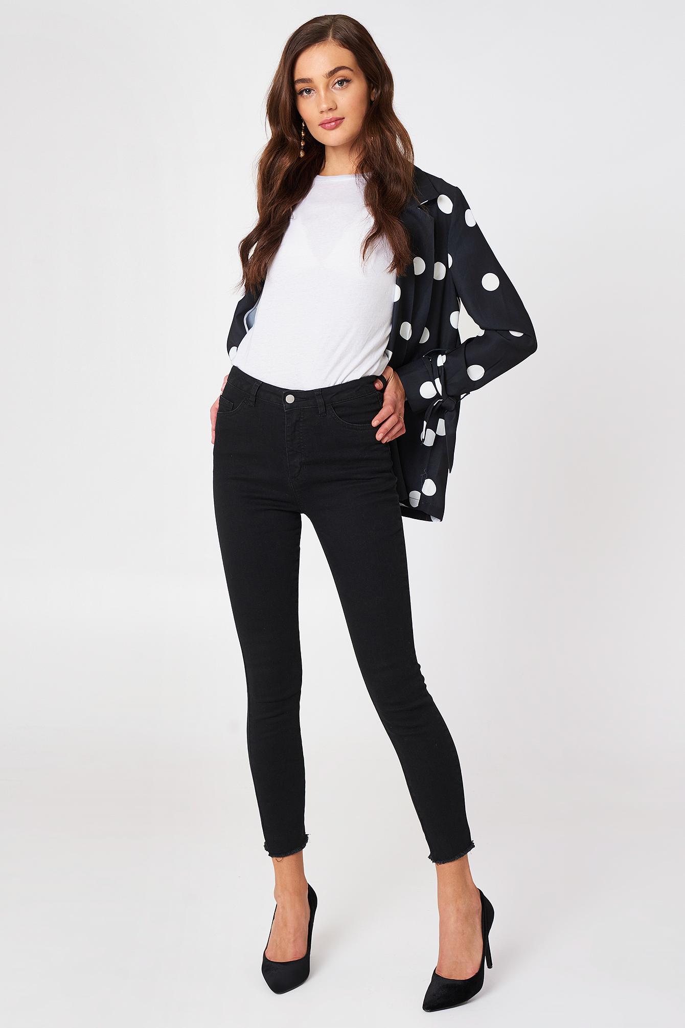 Highwaist Skinny Fray Hem Jeans NA-KD.COM