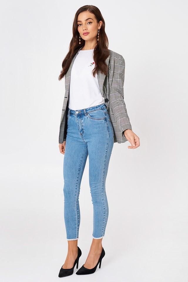 Highwaist Skinny Fray Hem Jeans Light Blue