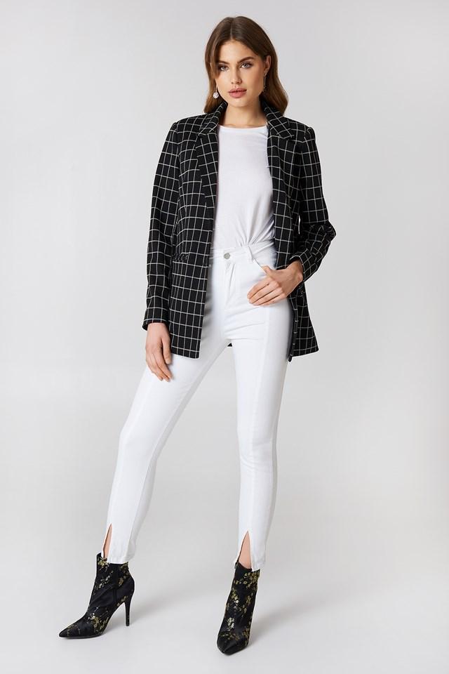 Highwaist Skinny Front Slit Jeans White