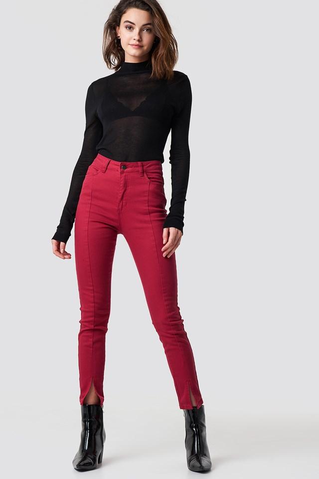 Highwaist Skinny Front Slit Jeans Red