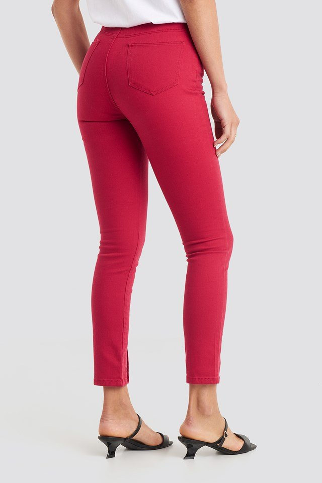 Highwaist Skinny Front Slit Jeans Red