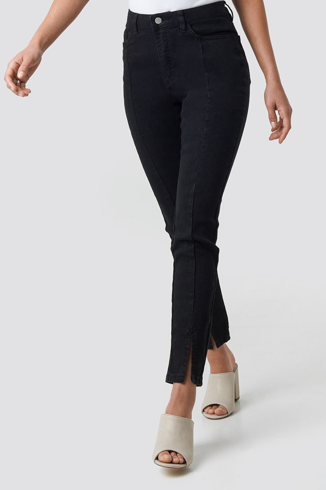 Highwaist Skinny Front Slit Jeans Black