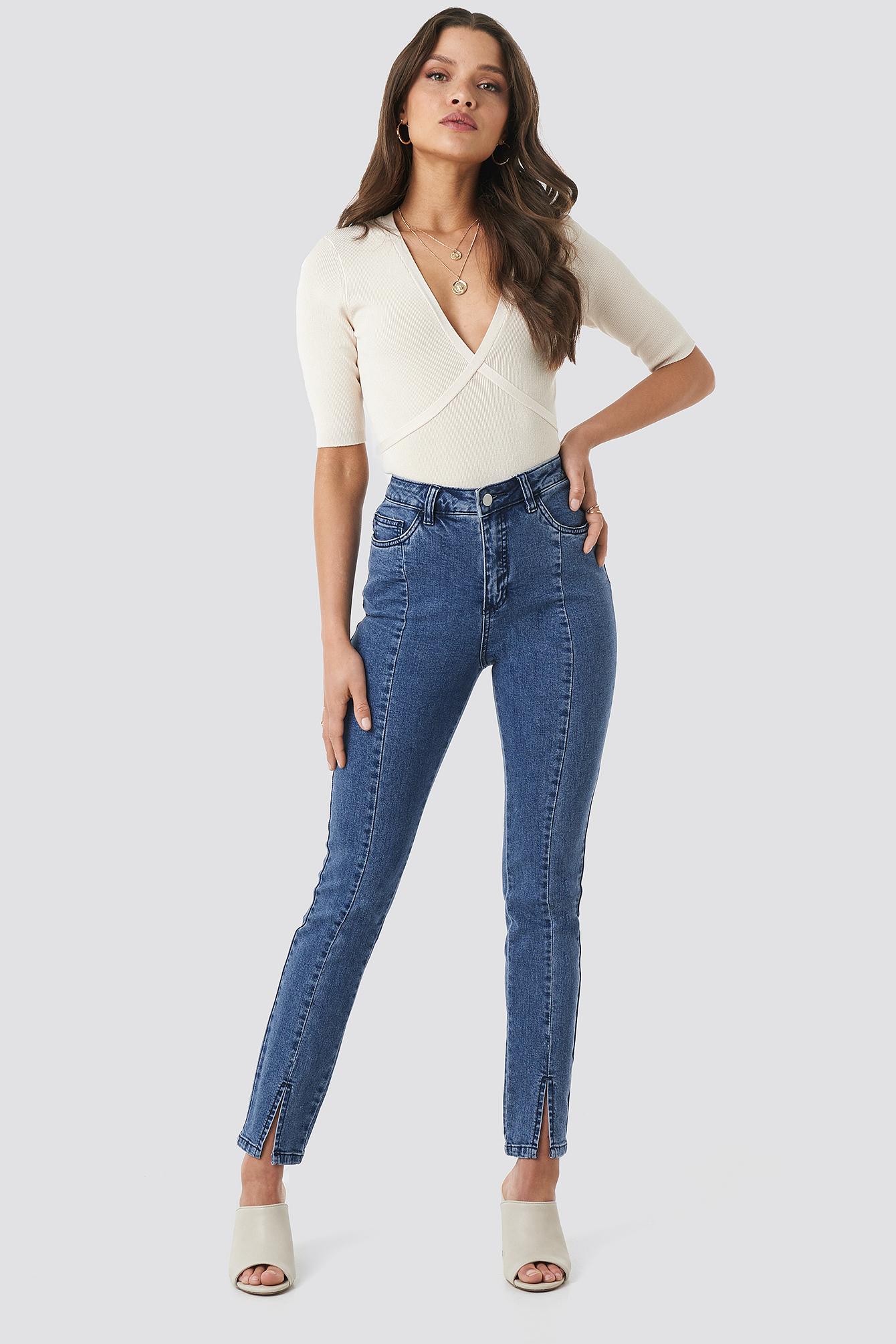 b92265983981 Highwaist Skinny Front Slit Jeans Mid Blue