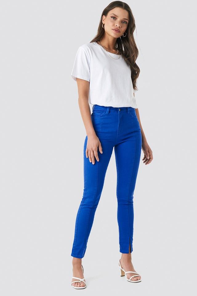 Highwaist Skinny Front Slit Jeans Cobolt