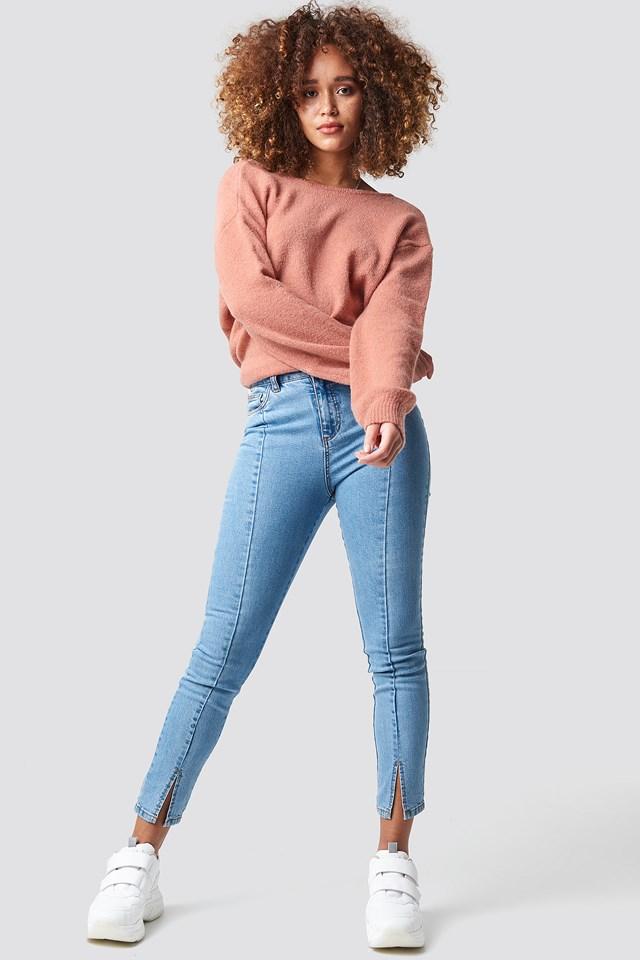Highwaist Skinny Front Slit Jeans Lt Blue