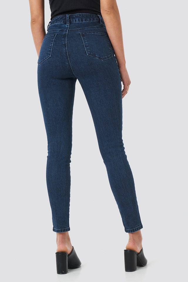 Highwaist Skinny Front Slit Jeans Dark Blue