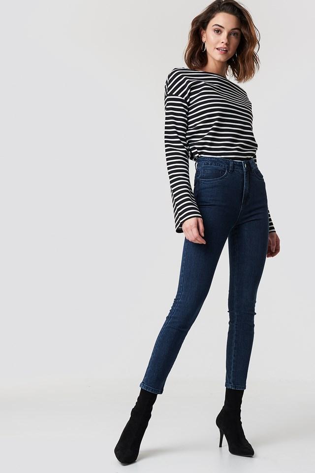 Jeansy z wysokim stanem Dark Blue