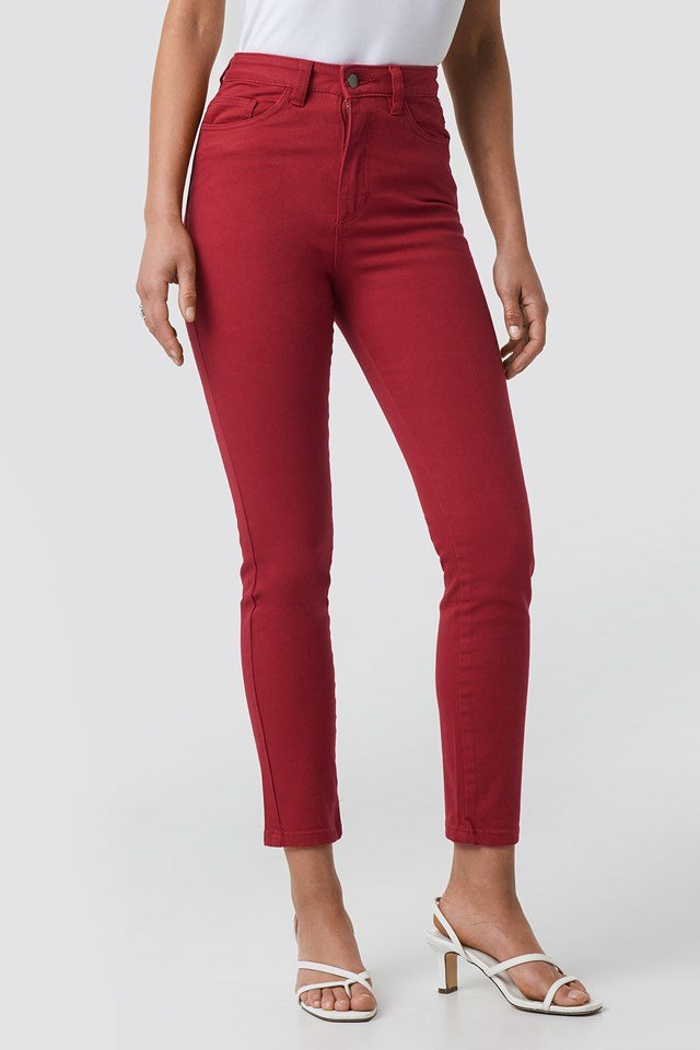 Highwaist Skinny Jeans Red