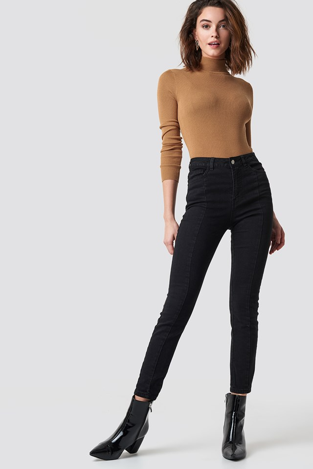 Highwaist Skinny Panel Jeans NA-KD