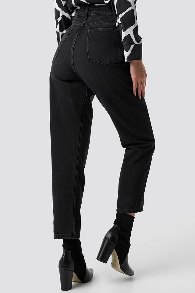 High Waist Straight Jeans Black Stone Wash