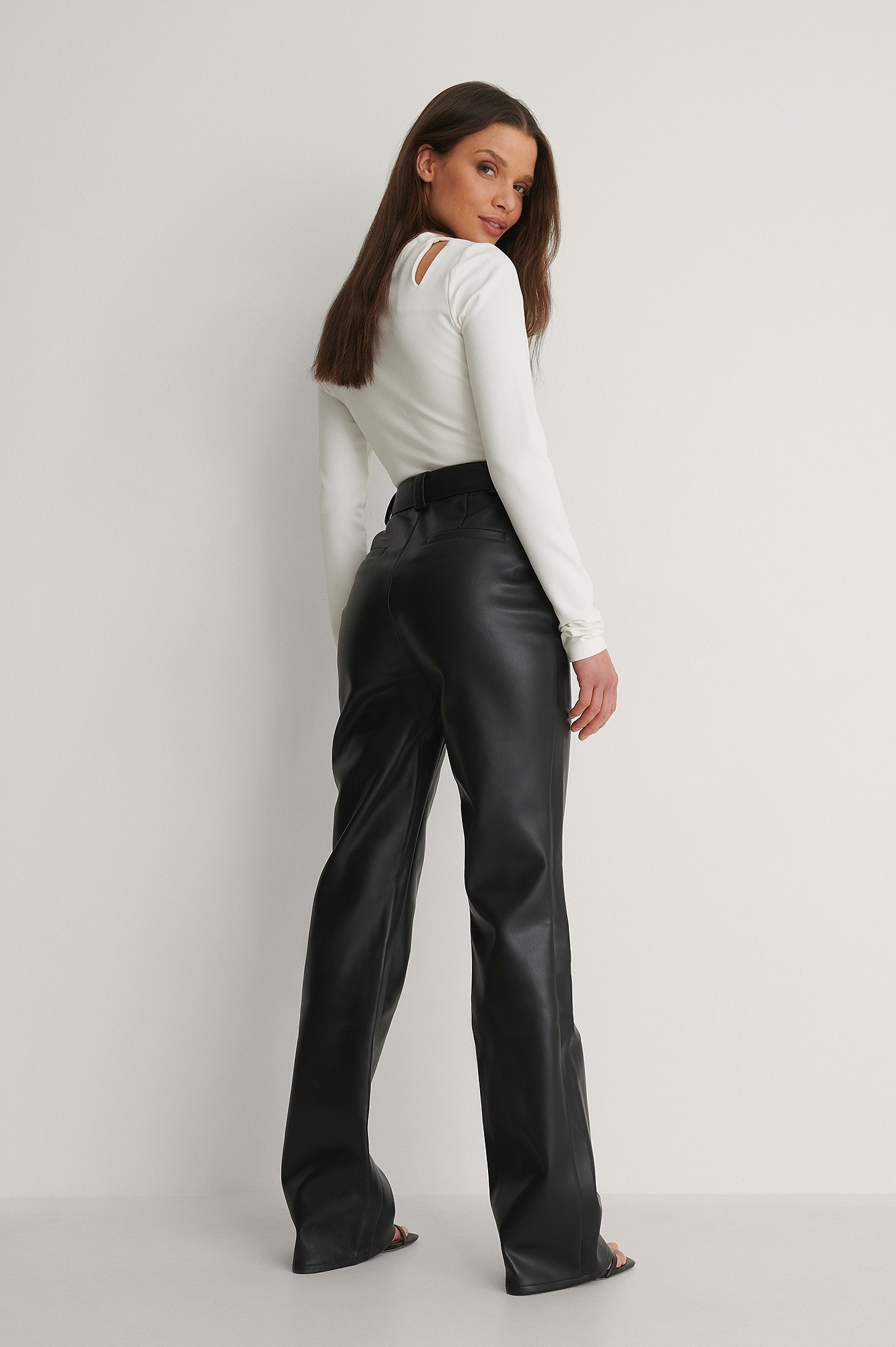 Black Highwaist Belted PU Pants