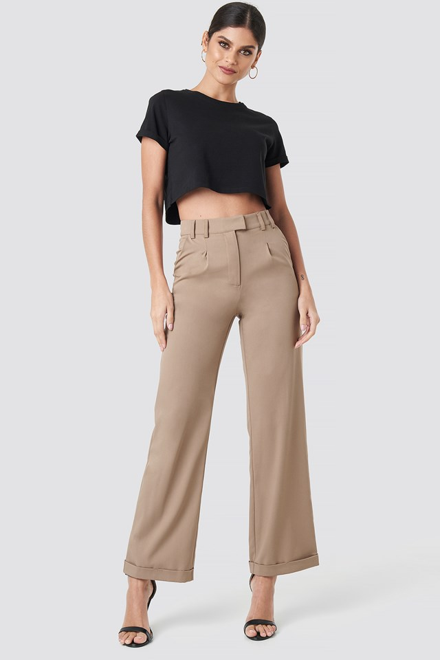 Highwaist Rolled up hem pants Beige